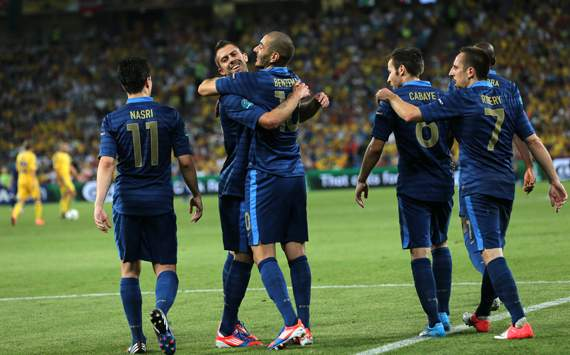 UEFA EURO - Ukraine v France, Jeremy Menez, Karim Benzema and Samir Nasri