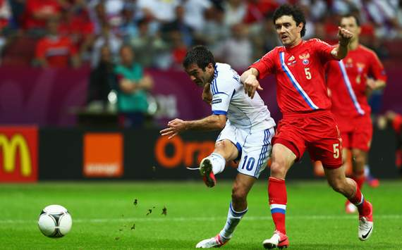UEFA EURO 2012 - Greece v Russia, Giorgos Karagounis and Yuriy Zhirkov