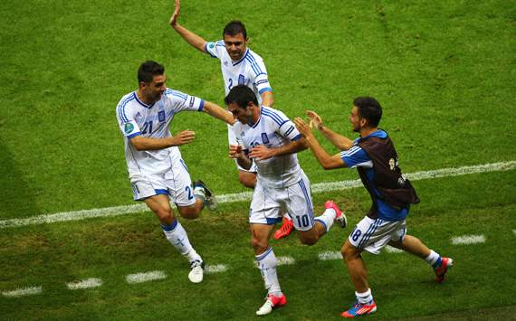 Greece players celebrating - Greece-Russia