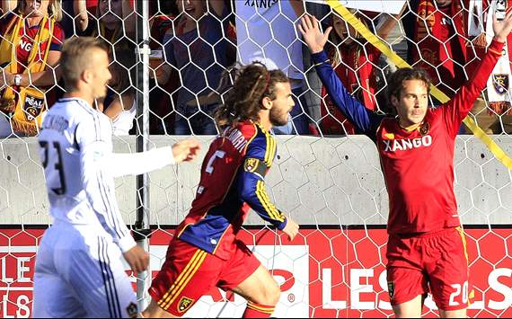 Kyle Beckerman celebrates RSL goal in front of Beckham