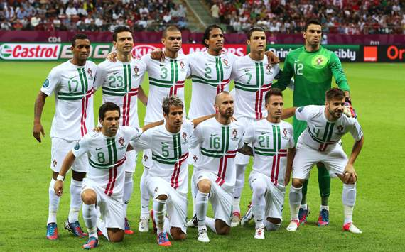 The Portugal team line up ahead of the UEFA EURO 2012 quarter final match between Czech Republic and Portugal