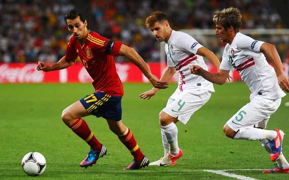 UEFA Euro - Portugal vs Spain,Alvaro Arbeloa, Miguel Veloso and Fabio Coentrao 