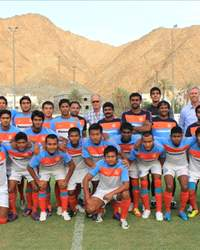 Indian national team coach Wim Koevermans and technical director Rob Baan with India U-22 squad and coach Arthur Papas in Muscat