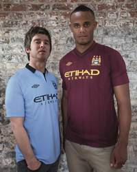 Manchester City Football Club's kit launch. Home and Away, Noel Gallagher and Vincent Kompany