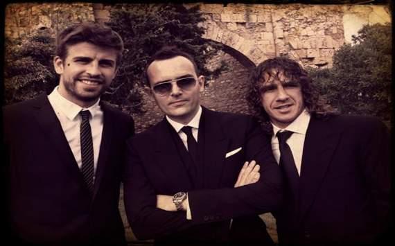 Gerard Piqué, Risto Mejide y Carles Puyol en la boda de Andrés Iniesta