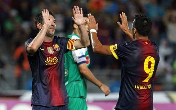 Lionel Messi and Alexis Sanchez celebrates during Barcelona's 0-8 victory against Raja Casablanca