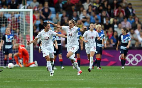 Christine Sinclair and the Canada women's team celebrate second goal vs. Team GB