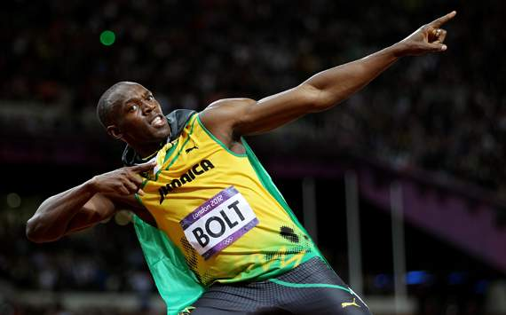 Usain Bolt of Jamaica celebrates winning gold in the Men's 100m Final on Day 9 of the London 2012 Olympic Games