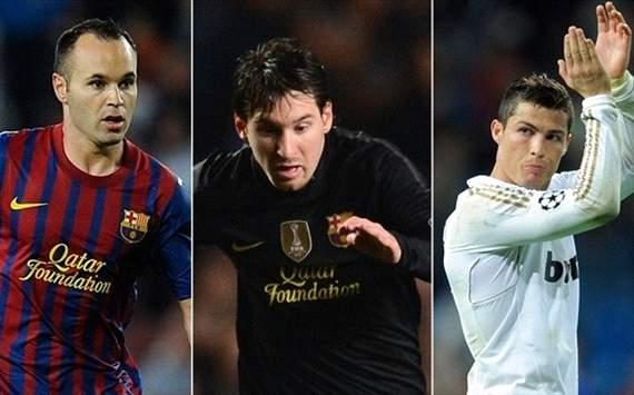 Andres Iniesta, Lionel Messi y Cristiano Ronaldo