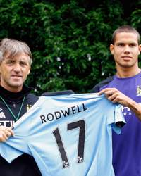 Jack Rodwell and Roberto Mancini, Manchester City