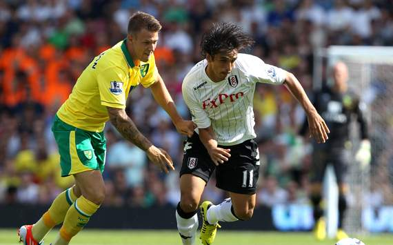 EPL - Fulham v Norwich City, Bryan Ruiz and Anthony Pilkington