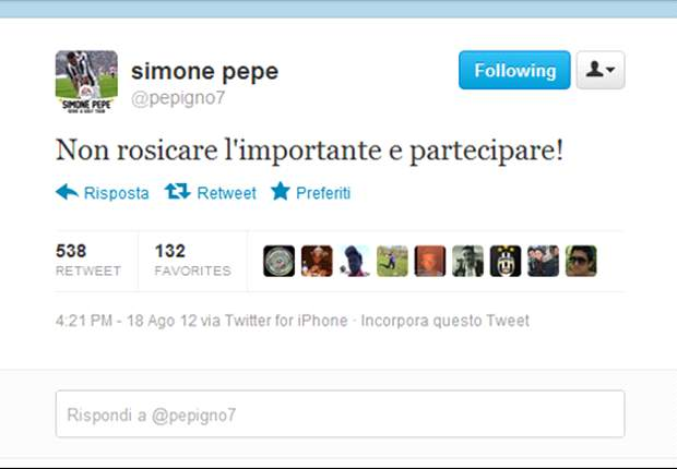 La replica bianconera a Mazzarri arriva su Twitter. Pepe punge: &quot;Non rosicare, l'importante  partecipare&quot;. Poi il giallo sparizione e la spiegazione...