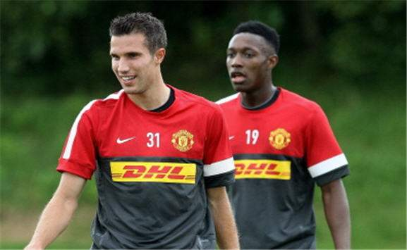 Robin van Persie with Danny Welbeck- Manchester United training - Carrington