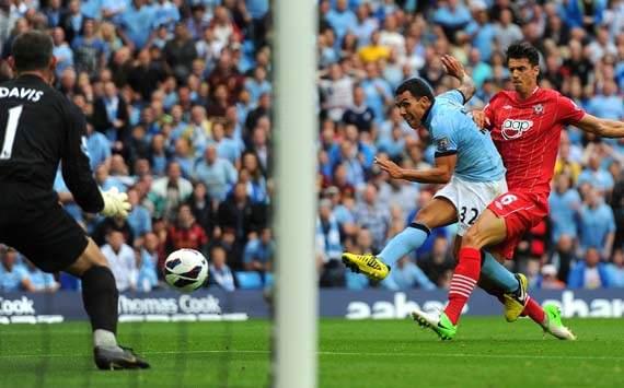 EPl; Carlos Tevez, Manchester City v Southampton