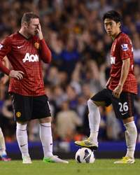 EPL - Everton v Manchester United, Wayne Rooney and Shinji Kagawa