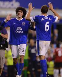 EPL -  Everton v Manchester United, Marouane Fellaini and Phil Jagielka 
