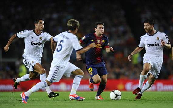 Lionel Messi, Xabi Alonso, Fabio Coentrao, Cristiano Ronaldo - FC Barcelona v Real Madrid