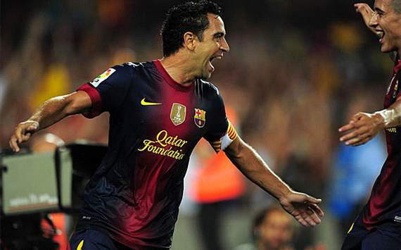 Xavi hernandez celebrating his goal in spanish supercup (barcelona-real madrid)