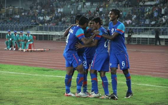 Syed Rahim Nabi celebrates after scoring India's second goal against Maldives, Nehru Cup 2012