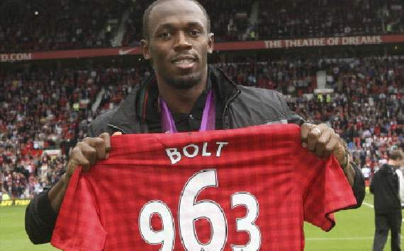 Bolt Celebrated's  at Old Trafford