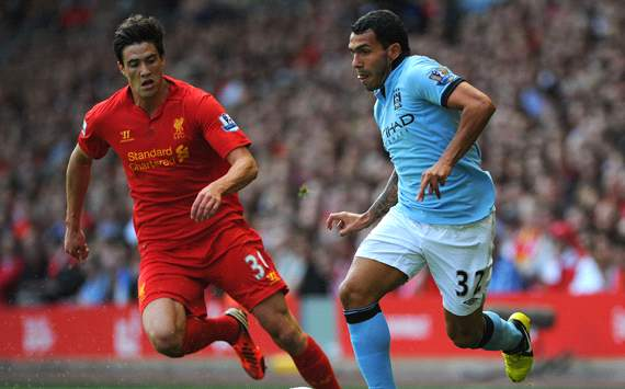 EPL: Carlos Tevez and Martin Kelly, Liverpool v Manchester City