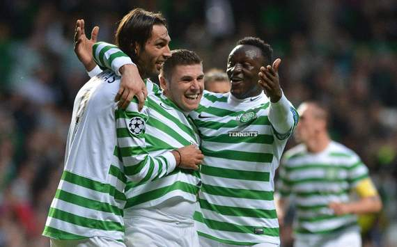  UEFA Champions League:  Gary Hooper - Giorgios Samaras - Victor Wanyama,Celtic v Helsingborgs  