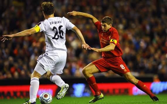 UEFA Europa League Play-off Round, Liverpool v Hearts, Steven Gerrard, Marius Zaliukas