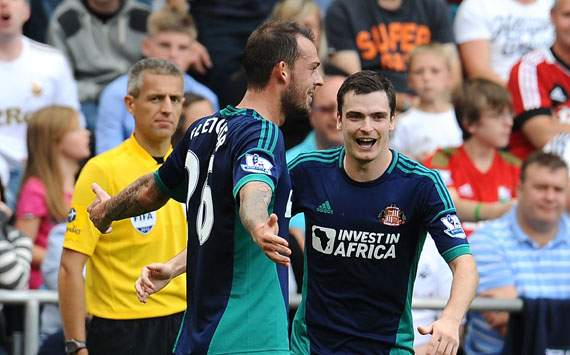 EPL - Swansea City v Sunderland, Steven Fletcher and Adam Johnson
