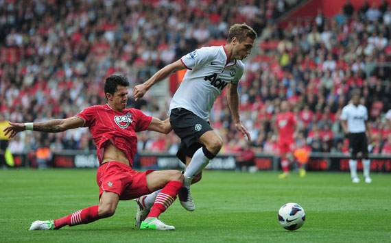 EPL - Southampton v Manchester United, Jose Fonte and Nemanja Vidic