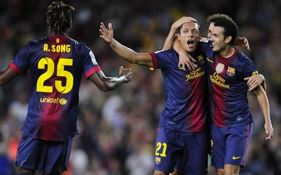 Alex Song, Adriano, Pedro, Barcelona, Valencia