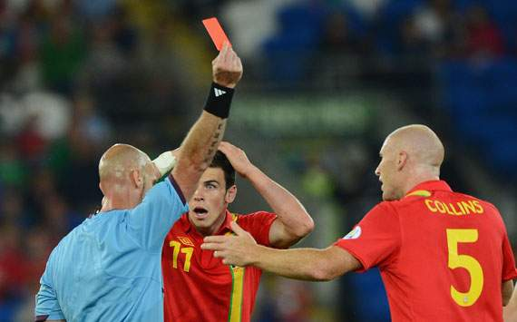 FIFA 2014 World Cup Qualifier - Wales v Belgium,  Referee Stefan Johannesson, James Collins and Gareth Bale