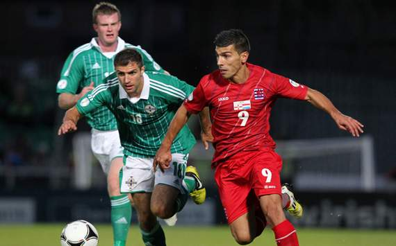 Northern Ireland vs Luxembourg, Aaron Hughes &amp;  Daniel Alves Da Mota 
