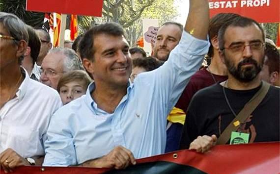 Joan Laporta- Ex- presidente de Barcelona in La diada Manifestation