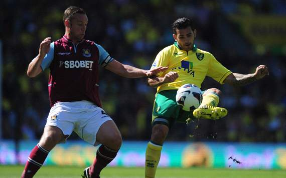 EPL: Robert Snodgrass - Kevin Nolan, Norwich City v West Ham United 