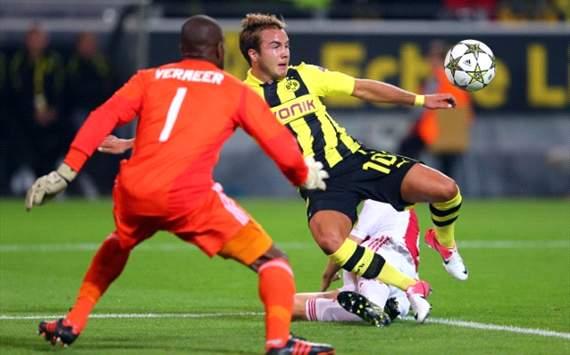 Mario Götze, Kenneth Vermeer - Dortmund - Ajax