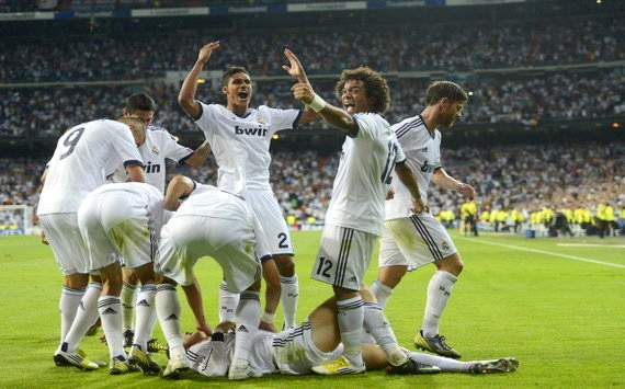 Real Madrid celebrate Manchester City win