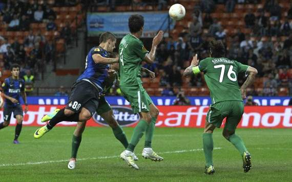 Marko Livaja scores a goal in Inter-Rubin Kazan