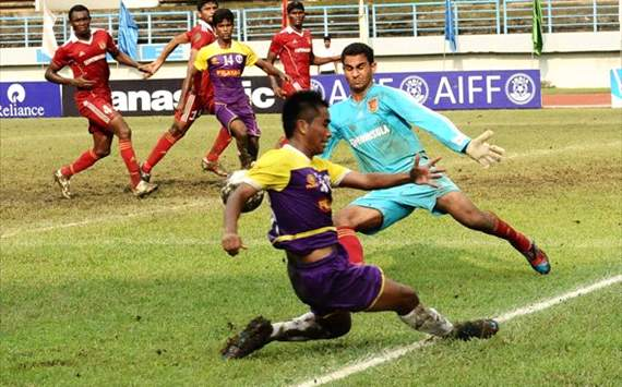 Action from the match between Prayag United and Pune FC, Federation Cup 2012