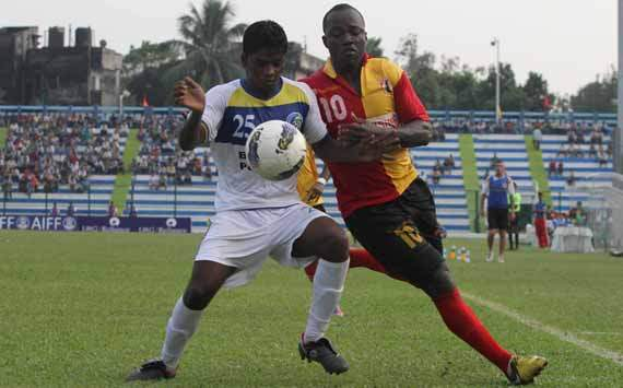 East Bengal's Chidi Edeh in action on Tuesday,Federation Cup 2012