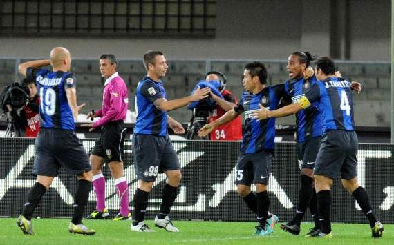 Inter players celebrate a goal
