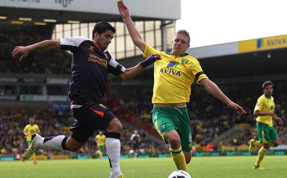 EPL: Luis Suarez - Michael Turner, Norwich City v Liverpool