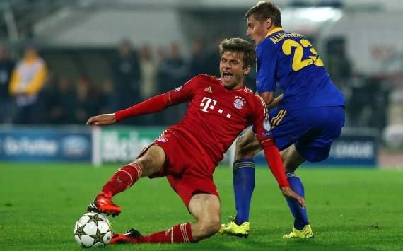 UEFA, Champions League, BATE Baryssau vs. FC Bayern Munich, Thomas Muller, Edgar Olekhnovich