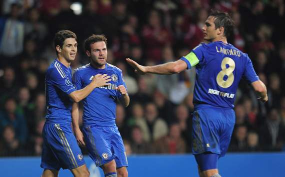 CL - Group E, NORDSJAELLAND-CHELSEA,  Juan Mata, Oscar and Frank Lampard
