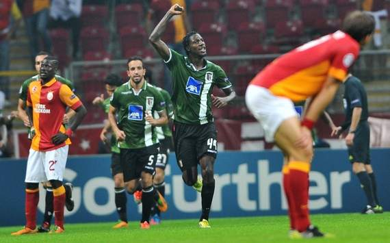 UCL: Braga player Douglao celebrating a goal