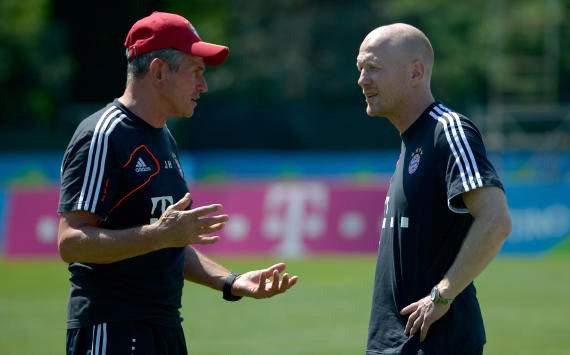 Bayern-coach Jupp Heynckes and Michael Sammer