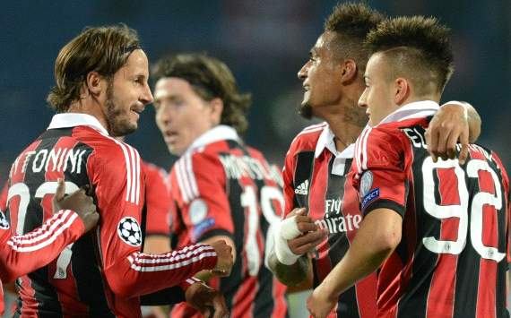 Milan players celebrating