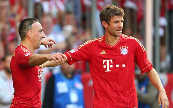 FC Bayern Mnchen v TSG 1899 Hoffenheim: Franck Ribery &amp; Thomas Mller