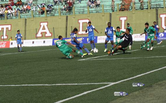Action from the match between United Sikkim and Salgaocar,I-League