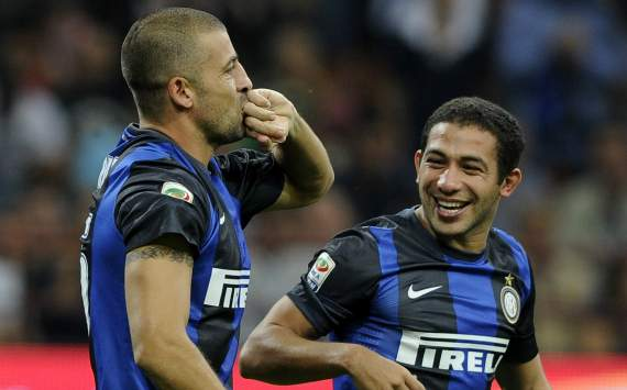 Walter Samuel celebrating, Milan-Inter