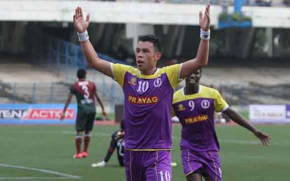 I-League:Prayag United's Kayne Vincent celebrates after scoring against Mohun Bagan